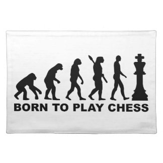 Evolution born to play chess placemat