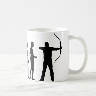 evolution bow and arrow coffee mug