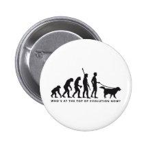 evolution dog 6 cm round badge