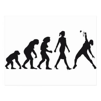 evolution female badminton player postcard