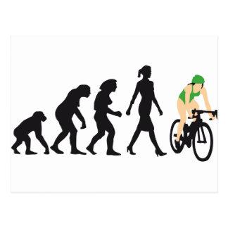 evolution female bicacle racer postkarten