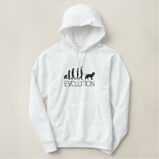 Evolution From Ape To Walking Your German Shepherd Embroidered Hooded Sweatshirts