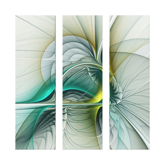 Evolution, Golden Turquoise Abstract Art Triptych Canvas Print