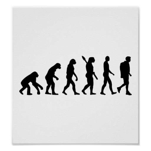 Evolution Hiking trekking mountains Print