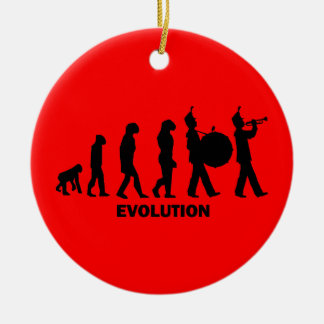 evolution marching band round ceramic decoration