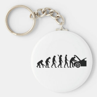 Evolution motor mechanic basic round button key ring