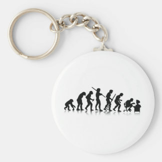 Evolution of Computer Addicts Basic Round Button Key Ring
