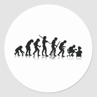 Evolution of Computer Addicts Classic Round Sticker