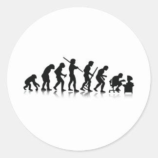 Evolution of Computer Addicts Round Sticker