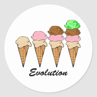 Evolution of Ice Cream Classic Round Sticker