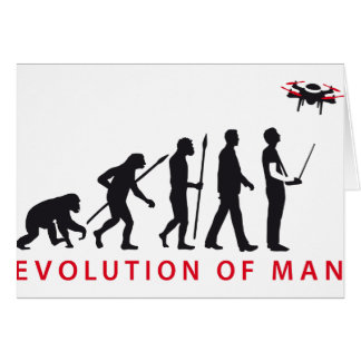 evolution of man controlling drone greeting card