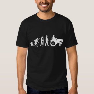 evolution of man farmer with tractor tee shirts