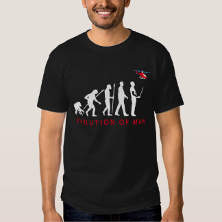 evolution of man modelling helicopter tee shirts