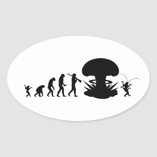Evolution of Man - Rise of the Cockroach Oval Sticker