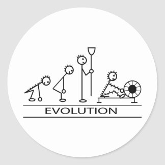 Evolution of man with rowing classic round sticker