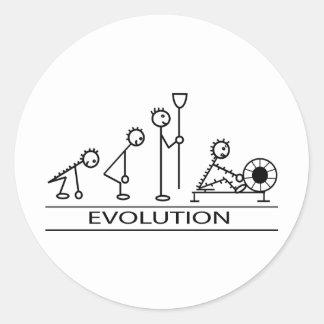 Evolution of man with rowing round sticker