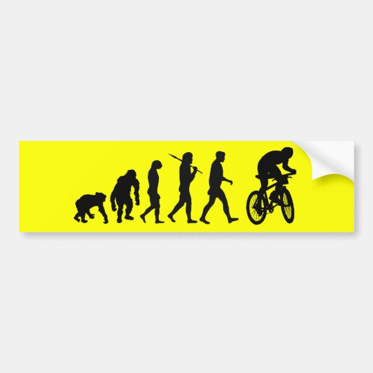 Evolution of mountain biking car bumper sticker