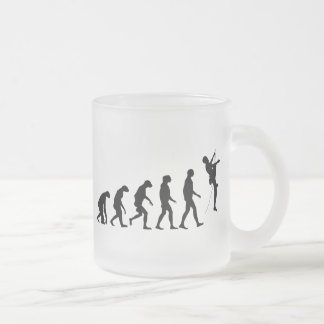 Evolution of Mountain Climbing Frosted Glass Coffee Mug