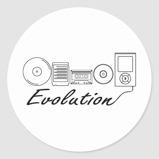 Evolution of Music Classic Round Sticker