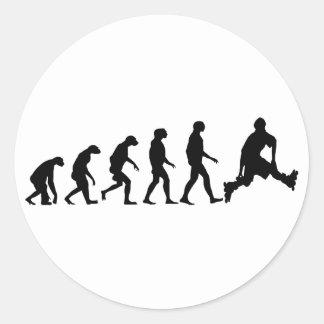 Evolution of Rollerblading Round Sticker
