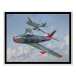 Evolution of the Breed: F-86 & Me 262 in formation Poster