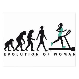 evolution OF woman jogging on A treadmill fitness Postcard