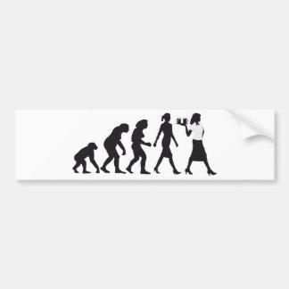 Evolution OF woman waitress Bumper Sticker