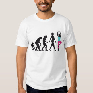 evolution of woman yoga position t shirts