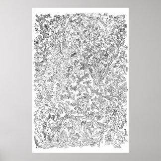 Evolution Poster - Tree of Life - Black and White