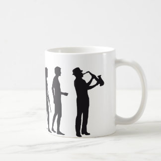 Evolution saxophone coffee mug