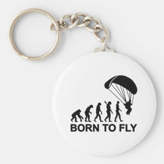 Evolution Skydiving born to fly Basic Round Button Key Ring