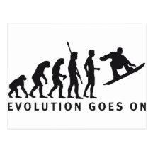 evolution snowboard postkarte