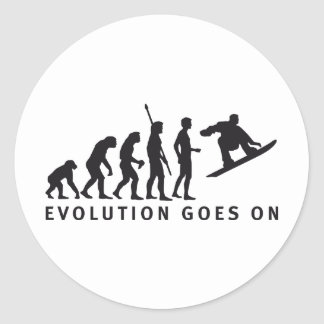 evolution snowboard round sticker