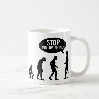 evolution - stop following me! basic white mug