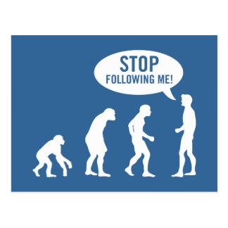 evolution - stop following me postcards