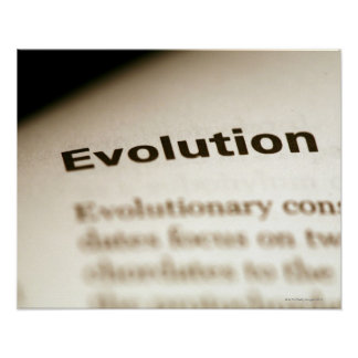 Evolution text on page poster