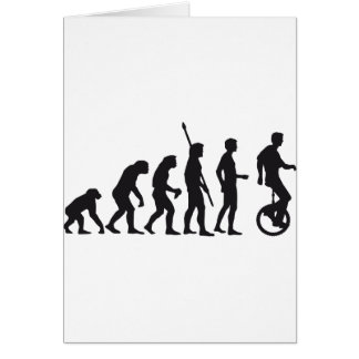 evolution unicycle greeting card
