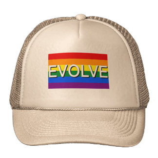 EVOLVE with Gay Pride Flag for Gay Rights Mesh Hats