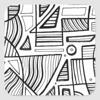 Ewell Abstract Expression Black and White Square Sticker