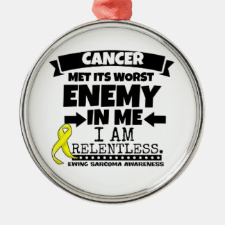 Ewing Sarcoma Cancer Met Its Worst Enemy in Me Silver-Colored Round Decoration