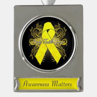 Ewing Sarcoma Flourish Hope Faith Cure Silver Plated Banner Ornament