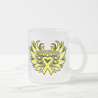Ewings Sarcoma Awareness Heart Wings.png Frosted Glass Mug