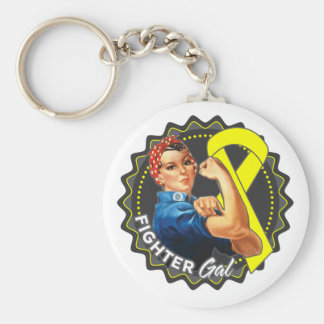 Ewings Sarcoma Fighter Gal Basic Round Button Key Ring