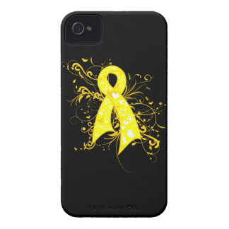 Ewings Sarcoma Floral Swirls Ribbon iPhone 4 Cases