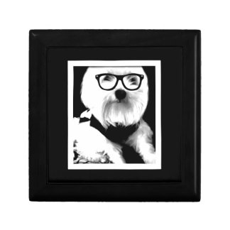 Ewok. Cute maltese with glasses Jewelry Box