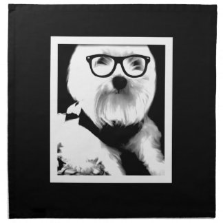 Ewok. Cute maltese with glasses Printed Napkins