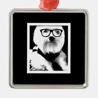 Ewok. Cute maltese with glasses Silver-Colored Square Decoration