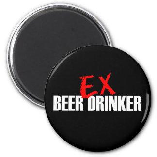 EX BEER DRINKER DARK 6 CM ROUND MAGNET