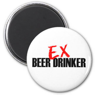 EX BEER DRINKER LIGHT 6 CM ROUND MAGNET