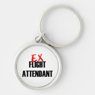 EX FLIGHT ATTENDANT LIGHT Silver-Colored ROUND KEY RING